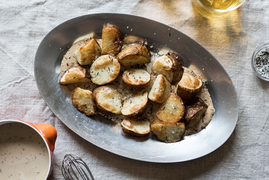 Recipe: Roasted Russet Potatoes with Abbey Dubbel-Mustard and Thyme Salt